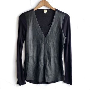 ECRU Black Suede Blouse Size Small